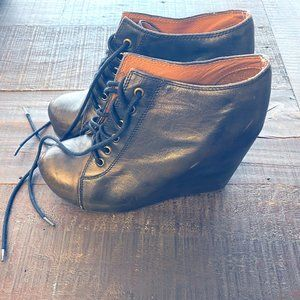 Jeffrey Campbell Lace-Up Wedge Booties